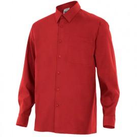 Chemise à manches longues 1 poche homme 65% polyester 35% coton 104 gr/m2 - Grenat - 529 - Velilla