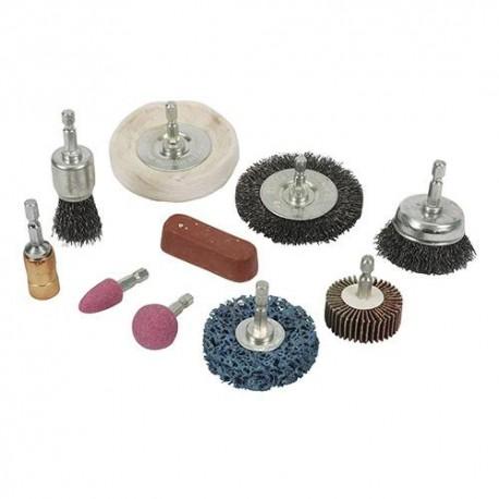 """Kit 10 pcs de nettoyage et polissage queue 6 pans 1/4"""" (6,35 mm) - 918557 - Silverline"""