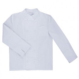 Chemise de cuisine à fermeture croisée homme finition téflon 65% polyester 35% coton 210 gr/m2 - Blanc - ENELDO - Disvel