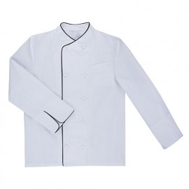 Chemise de cuisine à fermeture croisée homme finition téflon 65% polyester 35% coton 210 gr/m2 - Blanc/Noir - ENELDO - Disvel