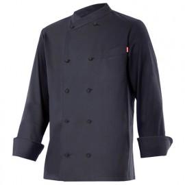 Chemise de cuisine à fermeture croisée homme finition téflon 65% polyester 35% coton 210 gr/m2 - Noir - ENELDO - Disvel