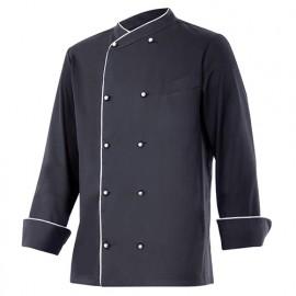 Chemise de cuisine à fermeture croisée homme finition téflon 65% polyester 35% coton 210 gr/m2 - Noir/Blanc - ENELDO - Disvel