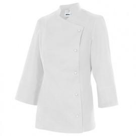 Chemise de cuisine femme finition téflon 65% polyester 35% coton 210 gr/m2 - Blanc - MELISA - Disvel