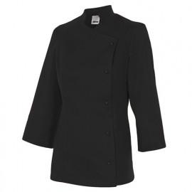 Chemise de cuisine femme finition téflon 65% polyester 35% coton 210 gr/m2 - Noir - MELISA - Disvel