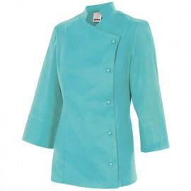 Chemise de cuisine femme finition téflon 65% polyester 35% coton 210 gr/m2 - Turquoise Clair - MELISA - Disvel
