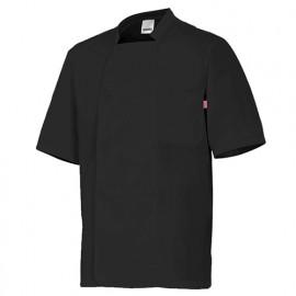 Chemise de cuisine manches courtes homme 65% polyester 35% coton 112 gr/m2 - Noir - 405201 - Velilla