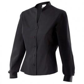 Chemise de service à col mao femme 65% polyester 35% coton 112 gr/m2 - Noir - VIURA - Disvel