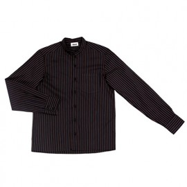 Chemise de service rayée à col mao manches longues homme 65% polyester 35% coton 112 gr/m2 - Noir - LISTANRY - Disvel
