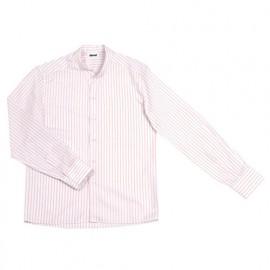 Chemise de service rayée à col mao manches longues homme 65% polyester 35% coton 118 gr/m2 - Blanc - LISTANRY - Disvel