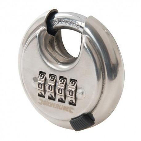 Cadenas circulaire avec combinaison à 4 chiffres en acier inoxydable 70 mm - 926157 - Silverline