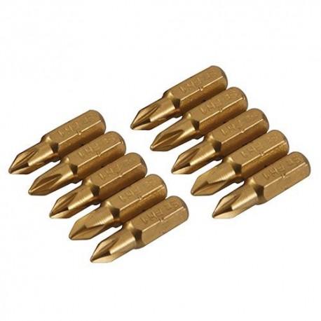 10 embouts de vissage L.25 mm Phillips PH1, titane ( TiN) - 934108 - Silverline