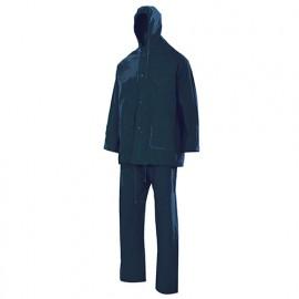 Combinaison de pluie deux pièces avec capuche 100% PVC 180 gr/m2 - Bleu Marine - 19000 - Vertice laboral