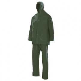 Combinaison de pluie deux pièces avec capuche 100% PVC 180 gr/m2 - Vert - 19000 - Vertice laboral