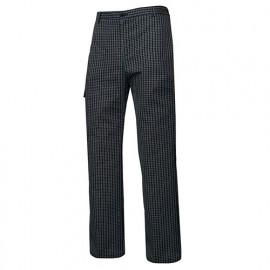 Pantalon de cuisine à carreaux homme 65% polyester 35% coton 210 gr/m2 - Carreaux Noirs - OREGANO52 - Disvel