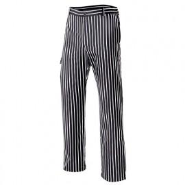 Pantalon de cuisine rayé homme 65% polyester 35% coton 210 gr/m2 - Rayures Noires - OREGANO50 - Disvel