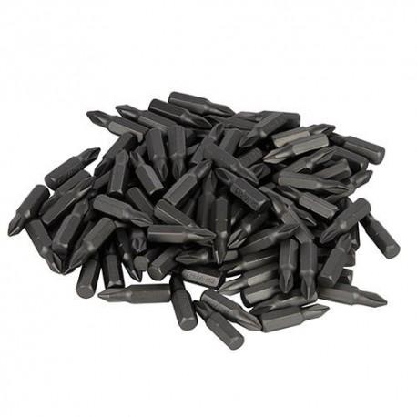 100 embouts de vissage L.25 mm Phillips PH2 chrome-vanadium - 969730 - Silverline