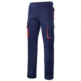 Pantalon de travail bicolore multipoches 65% polyester 35% coton 190 gr/m2 - Bleu Marine/Rouge - 103004 - Velilla