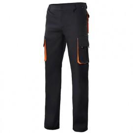 Pantalon de travail bicolore multipoches 65% polyester 35% coton 190 gr/m2 - Noir/Orange - 103004 - Velilla