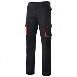 Pantalon de travail bicolore multipoches 65% polyester 35% coton 190 gr/m2 - Noir/Rouge - 103004 - Velilla