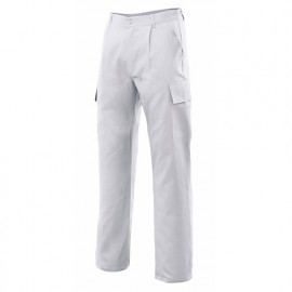 Pantalon de travail multipoches 80% polyester 20% coton 190 gr/m2 - Blanc - 31601 - Vertice laboral