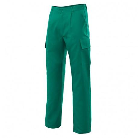 Pantalon de travail multipoches 80% polyester 20% coton 190 gr/m2 - Vert - 31601 - Vertice laboral