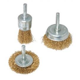 Assortiment de 3 brosses sur tige à fils d'acier laitonné - 985332 - Silverline