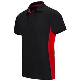 Polo bicolore manches courtes 60% coton 40% polyester 180 gr/m2 - Noir/Rouge - 105504 - Velilla