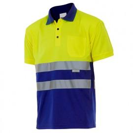 Polo bicolore manches courtes haute visibilité 100% polyester 160 gr/m2 - Jaune Fluo/Bleu Azur - 173 - Velilla