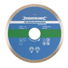 Disque diamant à jante continue lisse D. 180 x 22,23 mm pour carrelage/faïence - 993035 - Silverline