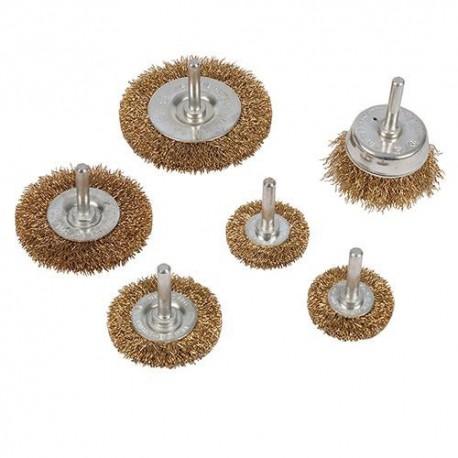 6 brosses à fils d'acier laitonnés sur tige - 993067 - Silverline