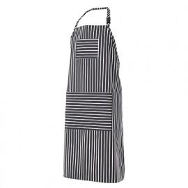 Tablier de cuisine à bavette et rayures 65% polyester 35% coton 210 gr/m2 - Rayures Noires - PIMENTON - Disvel