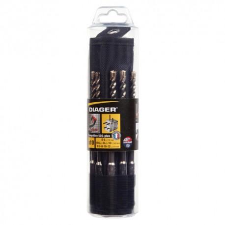 Trousse 10 pcs SDS+ 3 taillants D. 6 (x3), 8 (x3), 10 (x2), 12 et 14 x L. 160 mm Booster-plus - 072B - Diager
