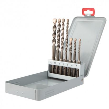 Coffret 7 pcs SDS+ 2 taillants D. 5, 6, 8 x L. 110mm et D. 6, 8, 10, 12 x L. 160 mm Twister-plus - 105D - Diager