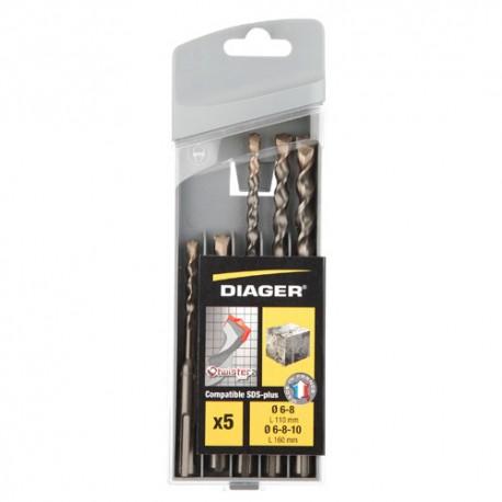 Coffret 5 pcs SDS+ 2 taillants D. 6, 8 x L. 110mm et D. 6, 8, 10 x L. 160 mm Twister-plus - 136C - Diager