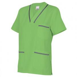 Tunique de ménage manches courtes femme 65% polyester 35% coton 190 gr/m2 - Citron Vert/Gris - B589 - Velilla