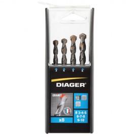 Coffret duo de 8 forets GRANIT D. 3, 4, 5, 6, 7, 8, 9 et 10 mm - 207B - Diager