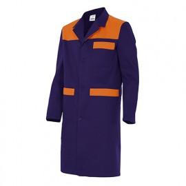 Blouse de travail 3 poches avec empiècements homme 65% polyester 35% coton 190 gr/m2 - Bleu Marine/Orange - BC700 - Velilla