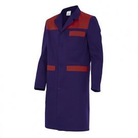 Blouse de travail 3 poches avec empiècements homme 65% polyester 35% coton 190 gr/m2 - Bleu Marine/Grenat - BC700 - Velilla