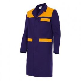Blouse de travail 3 poches avec empiècements homme 65% polyester 35% coton 190 gr/m2 - Bleu Marine/Orange Fluo - BC700 - Velilla