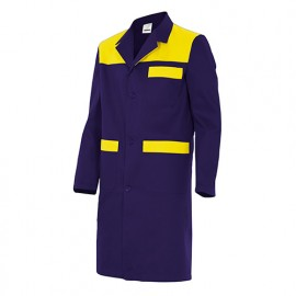 Blouse de travail 3 poches avec empiècements homme 65% polyester 35% coton 190 gr/m2 - Bleu Marine/Jaune Fluo - BC700 - Velilla