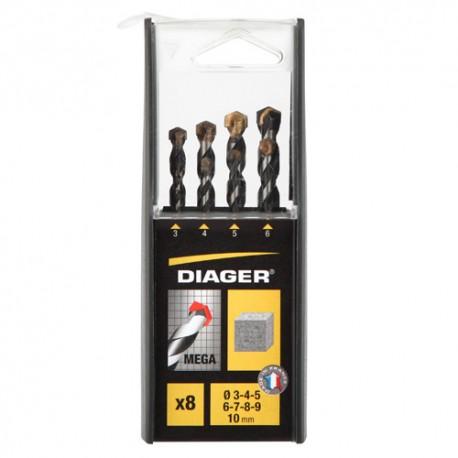 Coffret duo de 8 forets béton cylindrique MEGA D. 3, 4, 5, 6, 7, 8, 9, et 10 mm - 256C - Diager