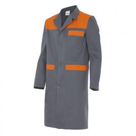 Blouse de travail 3 poches avec empiècements homme 65% polyester 35% coton 190 gr/m2 - Gris/Orange - BC700 - Velilla