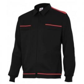Blouson de travail 2 poches homme 80% polyester 20% coton 190 gr/m2 - Noir/Rouge - BI61601 - Vertice laboral