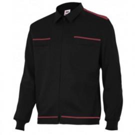 Blouson de travail 2 poches homme 80% polyester 20% coton 190 gr/m2 - Noir/Grenat - BI61601 - Vertice laboral