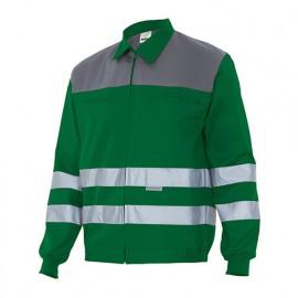 Blouson de travail à bandes réflechissantes homme 65% polyester 35% coton 190 gr/m2 - Vert/Gris - CC154 - Velilla