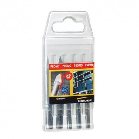 Coffret 5 forets spécial verre D. 6 ( x3) et D. 8 (x2) mm - 408C - Diager