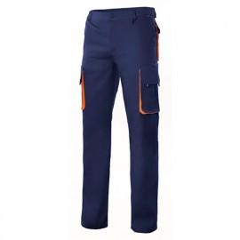 Pantalon de travail bicolore multipoches homme 65% polyester 35% coton 190 gr/m2 - Bleu Marine/Orange - F103004 - Velilla