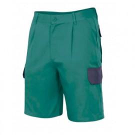 Bermuda de travail à pinces multipoches homme 65 % polyester 35% coton 200 gr/m2 - Vert/Bleu Marine - PT344 - Velilla