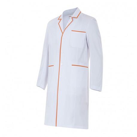 Blouse de ménage semi-cintrée manches longues homme 65% polyester 35% coton 210 gr/m2 - Blanc/Orange Clair - P539001 - Velilla