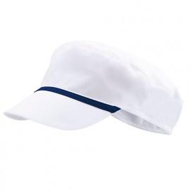 Bonnet casquette à visière agroalimentaire 65% polyester 35% coton 190 gr/m2 - Blanc/Bleu Azur - P254002 - Velilla